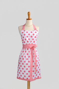 Retro Womens Bib Apron Sewing Aprons, Sewing Clothes, Pink Polka Dots, Pink Dot, Pink Wardrobe, Custom Aprons, Cool Aprons, Bib Apron, Kitchen Aprons