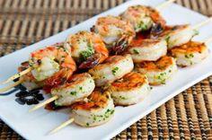 How to make Grilled Shrimp Skewers - Ingredients:Jumbo Shrimps - 8, shelled, deveinedExtra-Virgin Olive Oil - 1/8 cupJuice of 1/2 LemonLemon Zest - 1/2 tsp, finely mincedThyme - 1 tsp,
