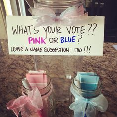 Gender Reveal Ideas, maybe put your suggested name as your vote...winners get a prize :)