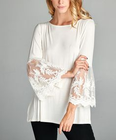 Loving this Off-White Lace Bell-Sleeve Tunic on #zulily! #zulilyfinds