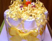 It's a boy mini diaper cake with washcloth lollipops. $14.00, via Etsy.