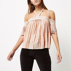 Pink lace pleated cold shoulder top - bardot / cold shoulder tops - tops - women