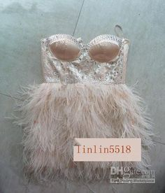 Upscale ostrich feather Crystal***Short Design petite dress Cocktail Wedding Prom Ball Party Dress