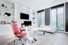 With an office like this you never have to leave your home// Makow Architects// Buena Vista Development Toronto, Studio, Corner Desk, Living Spaces, Chair, Table, Architects, Furniture, French