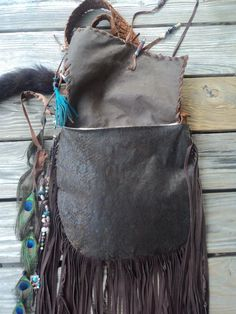 Handmade Brown Leather Boho Bag Hippie Western Fringe Cross Body Purse tmyers