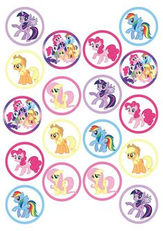 My Little Pony 18 x Pre-Cut Wafer Cupcake Toppers Festa Do My Little Pony, My Little Pony Cupcakes, My Little Pony List, My Little Pony Birthday Party, Toy Story Cake Toppers, Toy Story Cakes, Unicorn Cupcakes Toppers, Cupcake Toppers Free, My Little Pony Printable