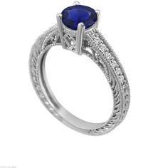 Blue Sapphire & Diamonds Engagement Ring 14K by JewelryByGaro