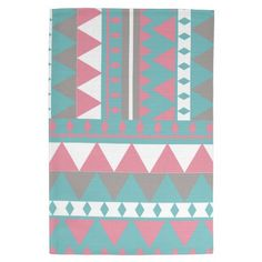 Modern Pink Blue Abstract Triangle Aztec Pattern Towel