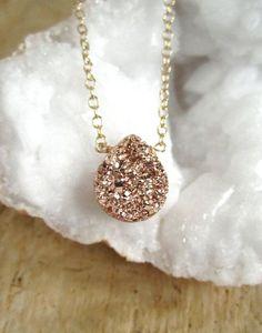 BACK IN STOCK! Rose Gold Druzy Necklace Titanium Drusy Quartz by julianneblumlo, $64.00