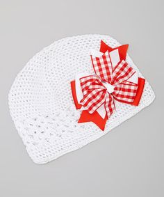 Take a look at this White & Red Gingham Rhinestone Bow Crocheted Beanie by Dress Up Dreams Boutique on #zulily today!