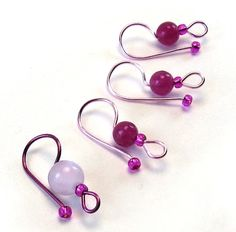 If you work with either knitting needles or crochet hooks these bright colors beaded stitch markers are as cute as functional. They are ideal for placing