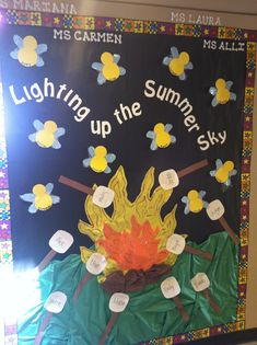 "My Summer Hallway Board, ""Lighting up the Summer Sky"". Lightning Bugs and Roasting Marshmallows!"