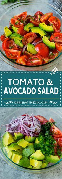 Tomato Avocado Salad Recipe   Avocado Salad   Tomato Salad #salad #tomato #avocado #glutenfree #cleaneating #dinner #dinneratthezoo #healthy Avocado Tomato Salad, Avocado Salad Recipes, Healthy Salad Recipes, Avocado Toast, Vegetarian Recipes, Guacamole Salad, Tomato Basil, Spinach Salad, Easy Salads