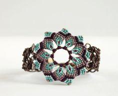 Macrame boho mandala flower bracelet light blue by KnottedWorld, €13.00 #macrame #bracelet