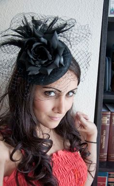 Elizabeth Black Rose Couture English Hat Sinamay by EyeHeartMe, $78.00