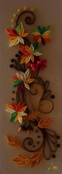 Quilled Fall Garland ~ Neli Quilling Art Probably too much work for a large group of but oh so pretty. Neli Quilling, Quilling Craft, Quilling Patterns, Quilling Designs, Paper Quilling, Ideas Quilling, Toilet Paper Roll Art, Toilet Paper Roll Crafts, Hobbies And Crafts
