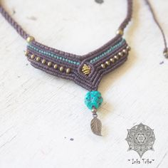 Macrame Necklace with Tourquize natural stone/ brass by InkaTribe, $60.00