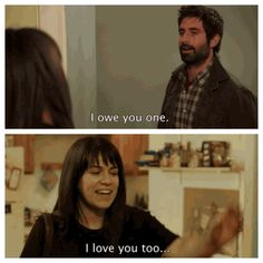 """Broad City is a raunchy, hysterical comedy on Comedy Central. Focusing on two friends Ilana and Abbey who are best friends and always seem to get into wacky situations. Here Abbey is being portrayed as a clingy girl after spending the night with the guy above. When he says he owes you one, her response is """"i love you"""" even though normally that's not what women do. In the show Abby is portrayed as the more insecure friend in comparison to Ilana. (Observation)"""
