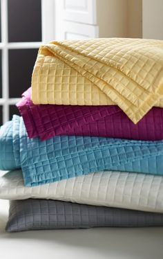 Add a luxurious, versatile layer in any season; the soft, breathable texture of quilted bamboo rayon coverlet and pillow shams makes a beautiful decorative statement on any bed.