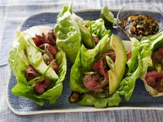 Light Tacos : For a lighter spin on tacos, this version uses crisp green lettuce in place of the usual shells. Grilled flank steak, a chile salsa and sliced avocado make up the tasty filling. via Food Network Summer Grilling Recipes, Healthy Summer Recipes, Healthy Grilling, Summer Desserts, Healthy Steak, Summer Fruit, Healthy Options, Summer Salads, Shrimp Tacos