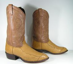 tony lama ostrich cowboy boots mens 10.5 EE by vintagecowboyboots