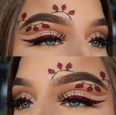 Check out - Makeup Tutorial For Teens Christmas Makeup Look, Holiday Makeup, Halloween Makeup, Eyeliner, Mascara, Eyebrows, Elf Makeup, Hair Makeup, Makeup Themes