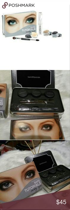 Bare Minerals Bare Tutorial Smokey Eyes NIB This includes everything you need for a smokey eye. Brand new in box. Includes: soul eyecolor, celestine Eyecolor, graphite eyecolor, 10-1 volumizing mascara, mini lid crease brush. Includes a booklet.  Ask any and all questions. I will get them answered as soon as possible. I ship everyday except sunday and holidays then i'll ship the following day. Thanks and Happy Poshing. bareMinerals Makeup
