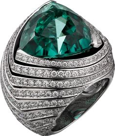 CARTIER. Ring - platinum, one 16.20-carat triangular-shaped blue-green tourmaline, black lacquer, brilliant-cut diamonds