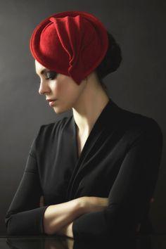 Felt Fascinator, Red Fan Felt Cocktail Hat, Ruby Pleated Headpiece- Jasmine