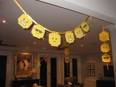 Lego Heads can be used as a banner or decoration for your party