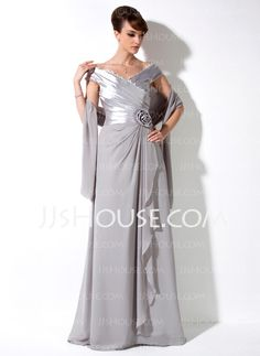 Mother of the Bride Dresses - $138.99 - A-Line/Princess Off-the-Shoulder Floor-Length Chiffon Charmeuse Mother of the Bride Dress With Ruffle Lace Flower(s) (008006117) http://jjshouse.com/A-Line-Princess-Off-The-Shoulder-Floor-Length-Chiffon-Charmeuse-Mother-Of-The-Bride-Dress-With-Ruffle-Lace-Flower-S-008006117-g6117