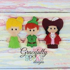 Peter Pan Finger Puppet set Embroidery Design - 4x4 Hoop or Larger
