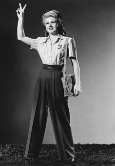 Ginger Rogers, in Tender Comrade! 40s pants trousers shirt casual sports uniform wear war era wwII