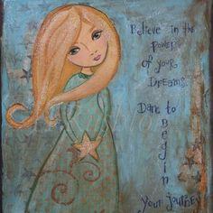 Children Decor Inspirational Quote  Folk Art Print  by by hrushton, $18.00