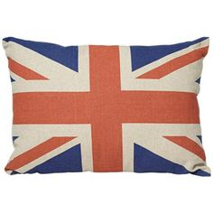 """Patterned pillows add personality to a dorm room. 19"""" Wide Canvas Union Jack Pillow from Lamps Plus."""