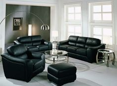 24 Beautiful Family Room Furniture Design for a Comfortable Place Family Room Furniture, Room Furniture Design, Black Leather Sofas, Leather Loveseat, Black Couches, Leather Chairs, Black Sofa Living Room, Living Room Decor, Living Rooms