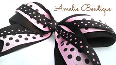 Hair Bow  Brown and Pink Polka Dot Cheer Dance by AmalieBowtique, $7.00