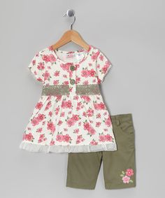 Take a look at this Pink Floral Tunic & Olive Green Shorts - Infant, Toddler & Girls by Young Hearts on #zulily today!