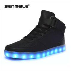 sale retailer e2ca0 ca9f8 Alta qualidade 7 Cores LED Luminoso Women  Men high top sapatos casuais  Sapatos Para Adultos