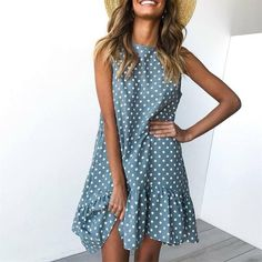 Wave Point Dress Ruffle Women 2019 Spring Summer Street Sexy Casual Slim Thin Beach Party O Neck Mini Polka Dot Dress Vestidos Dresses
