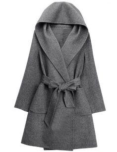 Product Name Hooded Patch Pocket Belt Plain Woolen Wrap  CardiganMaterial WoolenCollar neckline HoodedSleeve Long  SleeveEmbellishment Patch ... fc2edca6c226
