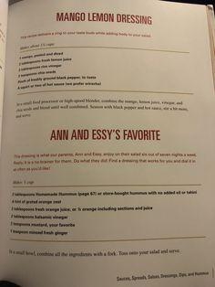 Mango lemon dressing & ann and essy's favorite dressing Plant Based Whole Foods, Plant Based Eating, Plant Based Diet, Plant Based Recipes, Vegan Sauces, Vegan Foods, Vegan Dishes, Mango Dressing, Oil Free Salad Dressing