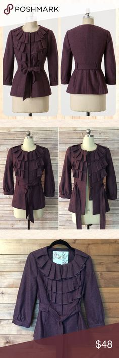 """Anthropologie TABITHA Wool Jacket Anthropologie byTabitha 'Foliage Finder' Jacket in Deep Purple Size 4 In perfect condition!! Wool pleats with hidden snaps and circle Neckline. Fitted and flattering with Removable self-tie belt on-seam hand pockets (still welted) and 3/4 length sleeves. 50% Wool, 34% Rayon, 16% Polyester, lined.  Length: 25"""" Bust: 35""""Waist: 30"""" Anthropologie Jackets & Coats"""
