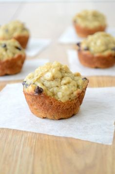 Peanut Butter Banana Chocolate Chip Oatmeal Muffins. Grab one of these tasty muffins in the morning and go!