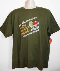 M&M CANDY *MELTS IN YOUR MOUTH NOT IN YOUR HAND* GREEN T-SHIRT WOMEN 2XL ~NWT #MMS #GraphicTee