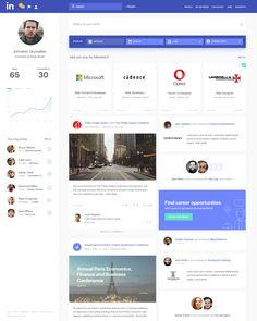 "via Muzli design inspiration. ""Linkedin Redesign Concepts"" is published by Muzli in Muzli - Design Inspiration. Best Ui Design, Page Design, Ux Design, Design Color, Graphic Design, Intranet Design, Portal, Profile Website, Creativity Exercises"