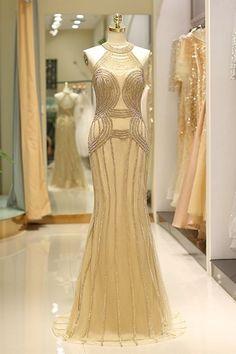 Luxury Evening Dresses V Neck Heavy Beaded Light Gold Halter Mermaid Formal Gowns With Train Gold Prom Dresses, Sequin Evening Dresses, Beaded Prom Dress, Mermaid Evening Dresses, Ball Dresses, Evening Gowns, Wedding Dresses, Dinner Gowns, Dresses Dresses