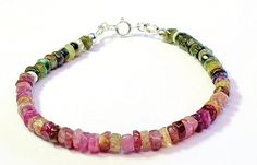 SOLD Natural tourmaline bracelet sterling by Emmalishop on Etsy Layered Bracelets, Gemstone Bracelets, Gemstone Jewelry, Bohemian Jewellery, Tourmaline Gemstone, Minimalist Jewelry, Etsy Jewelry, Artisan Jewelry, Gift Ideas