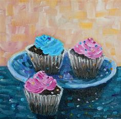"""Daily Paintworks - """"Cupcakes"""" by Maggie Flatley"""
