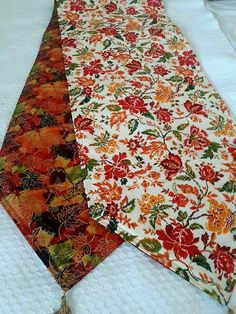 Fall Leaves Holiday Themed Reversible Table Runner 72x14 Handmade and Padded